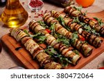 rustic fried stuffed eggplant... | Shutterstock . vector #380472064