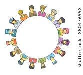 women group form circle shape... | Shutterstock .eps vector #380476993