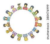women group form circle shape... | Shutterstock .eps vector #380476999