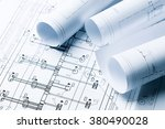 architectural blueprints close... | Shutterstock . vector #380490028