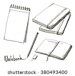 sketch of notebooks with pencil ... | Shutterstock .eps vector #380493400