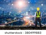 double exposure of engineer... | Shutterstock . vector #380499883