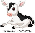 cartoon funny baby cow sitting... | Shutterstock .eps vector #380505796