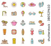 Beach  Icons Set.vector