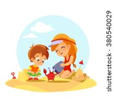cartoon little boy and girl... | Shutterstock .eps vector #380540029