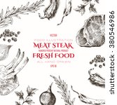 vector meat steak sketch...   Shutterstock .eps vector #380546986