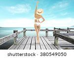 gray wooden shabby old pier and ... | Shutterstock . vector #380549050