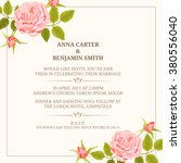 invitation card with roses.... | Shutterstock . vector #380556040