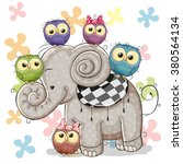 cute cartoon elephant and five... | Shutterstock .eps vector #380564134
