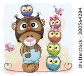 Cute Cartoon Teddy Bear And...