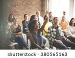 audience meeting seminar arms... | Shutterstock . vector #380565163