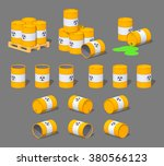 metal barrels with the nuclear... | Shutterstock .eps vector #380566123