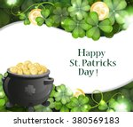 leprechaun pot on clover and... | Shutterstock .eps vector #380569183