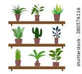 set of green indoor flat style... | Shutterstock .eps vector #380576116