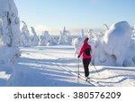 woman cross country skiing in...   Shutterstock . vector #380576209