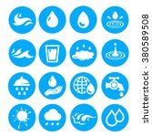 water drop set  blue icons or ... | Shutterstock .eps vector #380589508