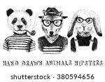 hand drawn dressed up animals...