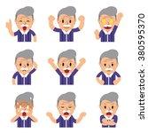cartoon a senior man faces... | Shutterstock .eps vector #380595370