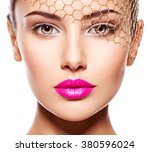 fashion portrait of a beautiful ... | Shutterstock . vector #380596024