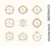 set of elegant floral monograms   Shutterstock .eps vector #380596423