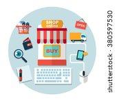 set of online shopping internet ... | Shutterstock .eps vector #380597530