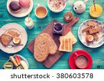 table set for a typical ... | Shutterstock . vector #380603578