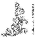 vintage baroque victorian frame ... | Shutterstock .eps vector #380607334