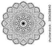 contour vector mandala on a... | Shutterstock .eps vector #380608840