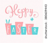 happy easter card. easter hand... | Shutterstock .eps vector #380609443