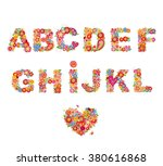 floral alphabet with funny... | Shutterstock .eps vector #380616868