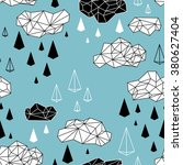 geometric clouds and rain... | Shutterstock .eps vector #380627404
