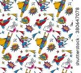 seamless pattern flying... | Shutterstock .eps vector #380647078