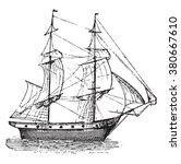 brig  vintage engraved... | Shutterstock .eps vector #380667610