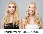 happy and sad twins    Shutterstock . vector #380670586