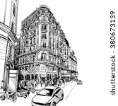 madrid city sketch hand drawn.... | Shutterstock .eps vector #380673139