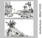 resort hand drawn sketch ... | Shutterstock .eps vector #380673220