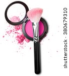 makeup brush with pink blush | Shutterstock . vector #380679310