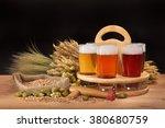 beer crate and beer glasses...   Shutterstock . vector #380680759