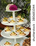 Beautiful and decadent, Tower of Flan desserts. - stock photo