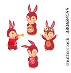 bunnies set. vector isolated... | Shutterstock .eps vector #380684599