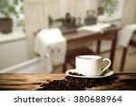 coffee in a cup on wooden table ... | Shutterstock . vector #380688964