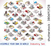 isometric buildings. industrial ... | Shutterstock . vector #380691928