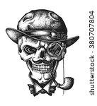 hand drawn gentleman skull... | Shutterstock .eps vector #380707804