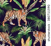 tiger in the jungle seamless... | Shutterstock .eps vector #380711590