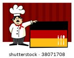Chef of german cuisine. Food, restaurant, menu design with cutlery silhouette on the country flag. Striped red background. Vector available - stock vector