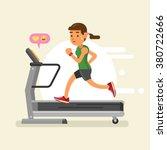 a woman running on a treadmill. ... | Shutterstock .eps vector #380722666
