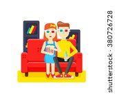 man and woman watching a movie... | Shutterstock .eps vector #380726728