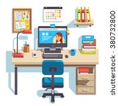 home office with a computer ...   Shutterstock .eps vector #380732800