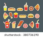 fast food set. vector fast food ... | Shutterstock .eps vector #380736190