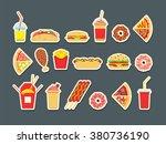 fast food set. vector fast food ... | Shutterstock .eps vector #380736190